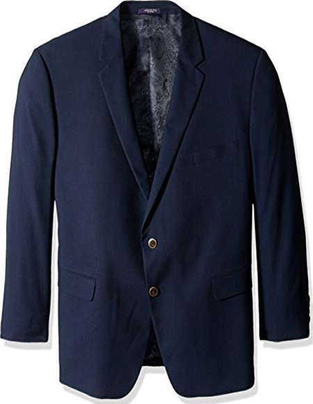 Men's Classic Portly Blazer Solid Navy Executive Fit Suit - Mens Portly Suit