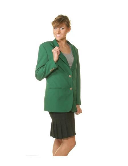 Two Button Notch Lapel women Blazer In Kelly Green