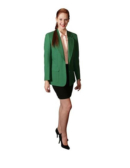 Two Button Notch Lapel women Blazer In Augusta Green