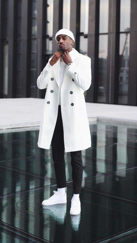 Mens White Double Breasted Overcoat Cashmere Fabric