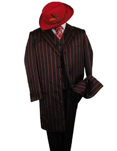 WTXZoot200Zoot100 Black W/Red Pinstripe & Bold Pronounce 3PC Fashion Zoot Suit $175 (Wholesale price $95 (12 pc) Advanced Pre Order To Ship November / 15 / 2019