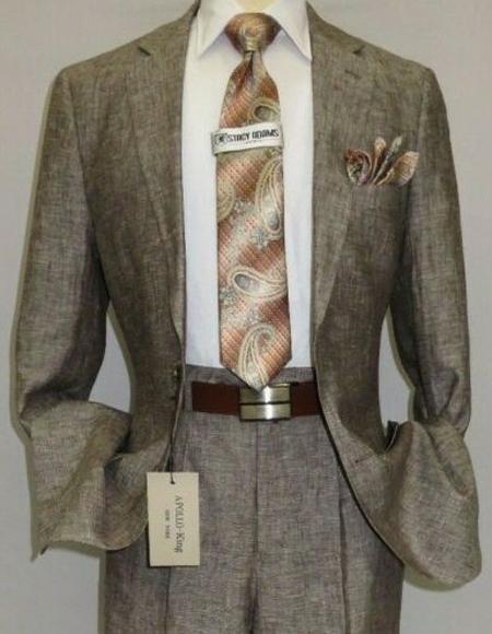 Mens Brown ~ Taupe Color Linen Suit Plus Size Mens Suits For Big Guys