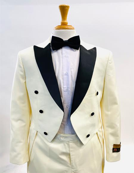 1920s Mens Fashion Tailcoat Tuxedo Morning Suit Tux Color Wool Fabric By Alberto Nardoni Ivory ~ Cream ~ Off White Tuxedo & Ivory Suit