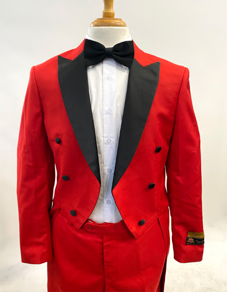 1920s Men's Fashion Tailcoat Tuxedo Morning Suit Tux Color Wool Fabric By Alberto Nardoni Red and Black Color  - Red Tuxedo