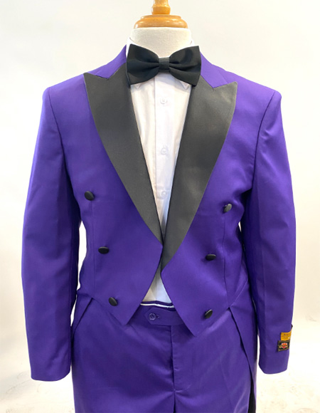 1920s Men's Fashion Tailcoat Tuxedo Morning Suit Tux Color Wool Fabric By Alberto Nardoni Purple and Black Color