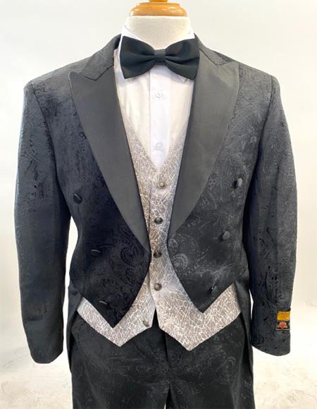 1920s Mens Fashion Tailcoat Tuxedo Morning Suit Tux Color Wool Fabric By Alberto Nardoni