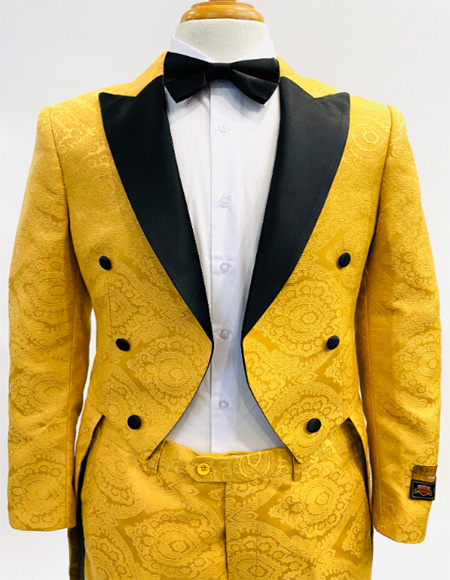 Mens Tailcoat Yellow ~ Black Gold and Black Color