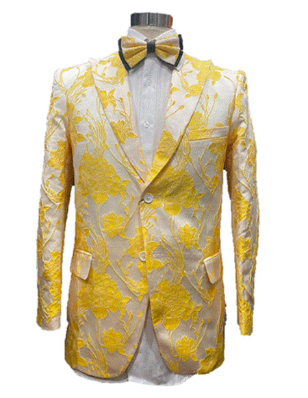 White and Gold ~ Yellow Prom Blazer > Tuxedo Dinner Jacket Including Bowtie