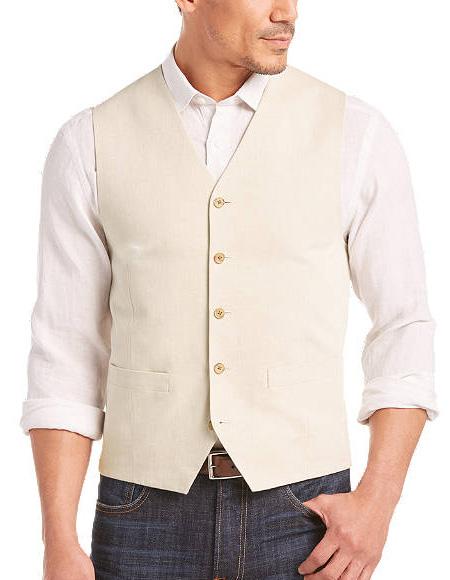 Five Button Besom pocket mens Vest In Light Tan