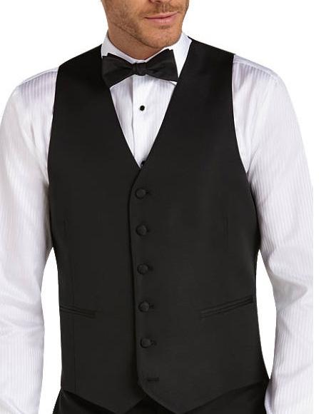Six Button Besom pocket mens Black Slim Fit Tuxedo Vest