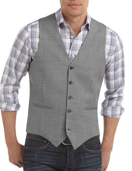 Five Button Besom pocket mens Sharkskin Slim Fit Suit Separates Vest Gray