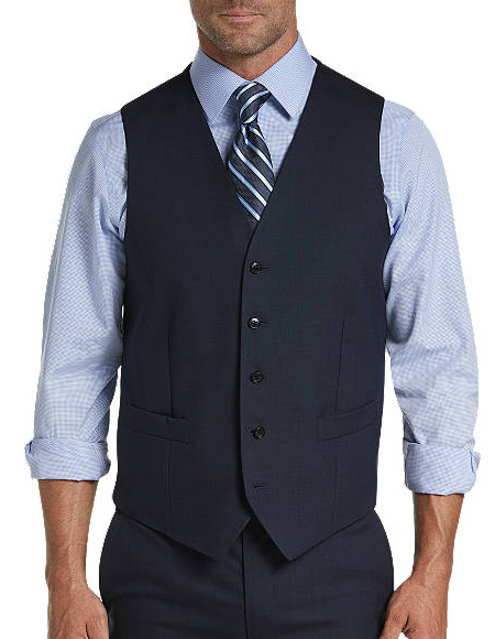 Five Button Besom pocket mens Blue Tic Modern Fit Suit Separates Vest