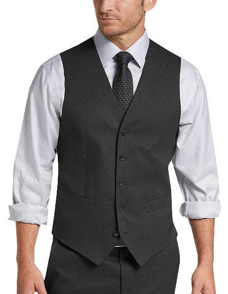 Five Button Besom pocket mens Charcoal Tic Modern Fit Suit Separates Vest