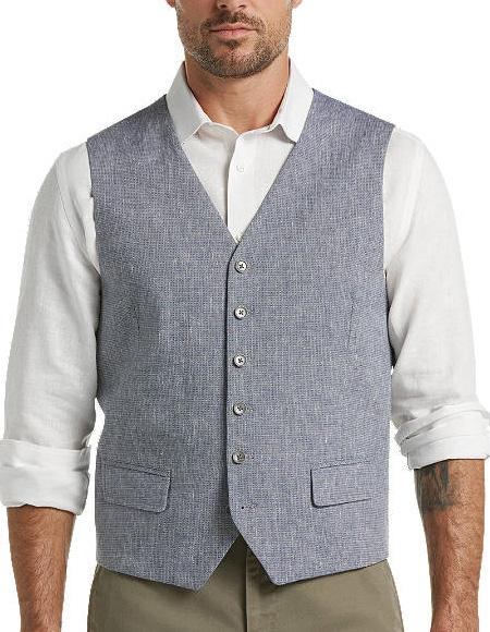 Five Button Flap pocket mens Blue Linen Suit Separates Vest
