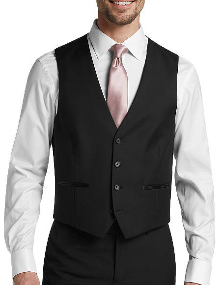 Four Button Besom pocket mens Black Slim Fit Suit Separates Tuxedo Vest