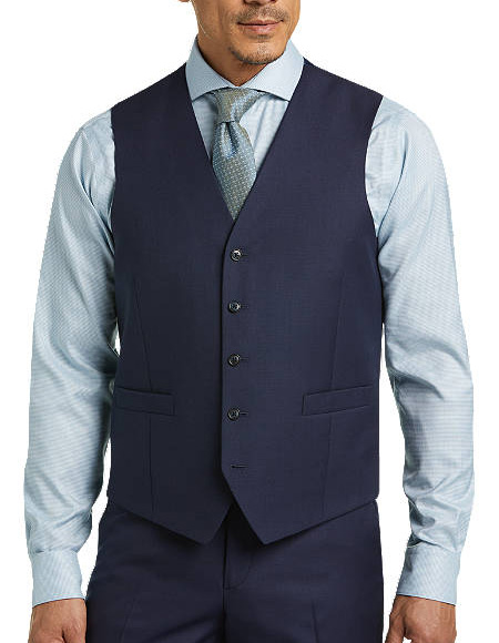 Five Button Besom pocket mens Blue Modern Fit Suit Separates Vest