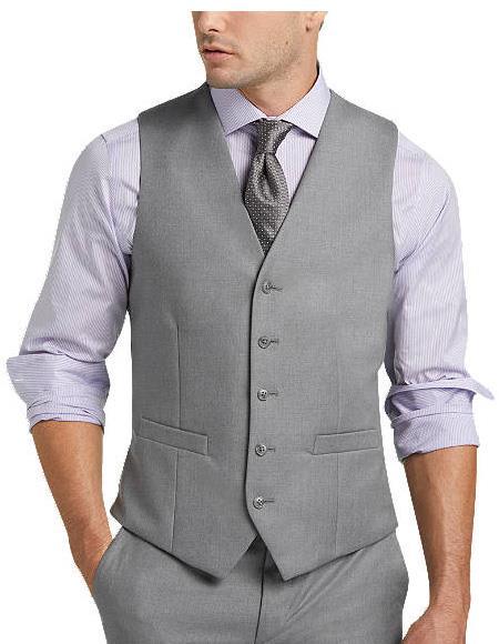 Five Button Blue Slim Fit Suit Separates Vest