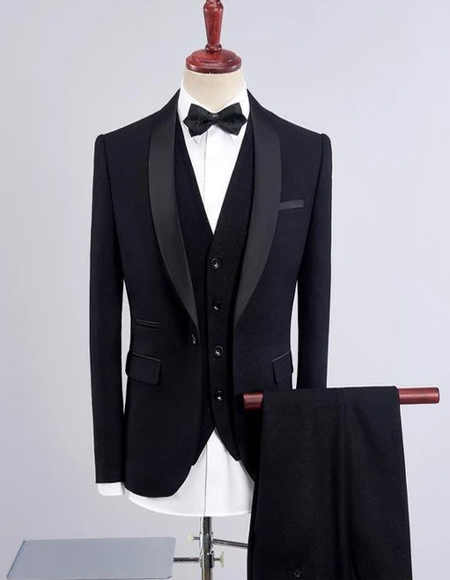 Mens Black One Button Shawl Lapel Three Piece Suit