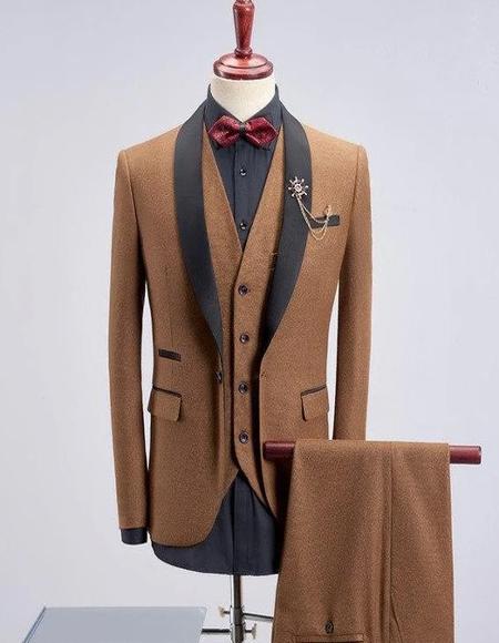 Men's Khaki Four Button Wool Blend Shawl Lapel Tuxedos