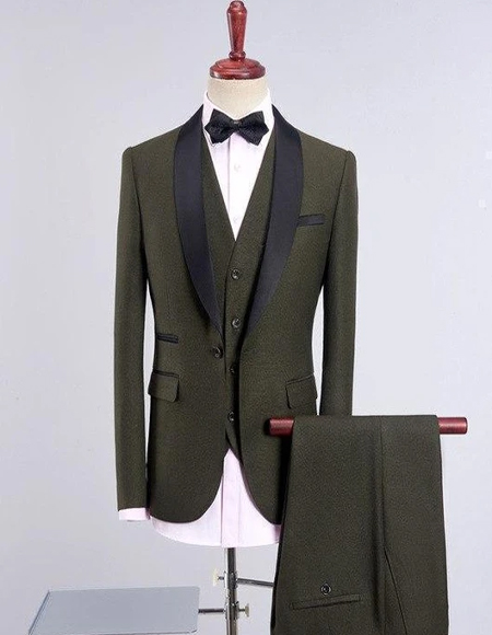 Mens Army Green Four-Button Wool Blend Back Vent Tuxedos