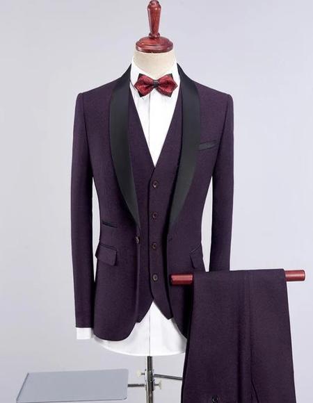 Men's Dark Purple Solid One Button Three-piece Suit