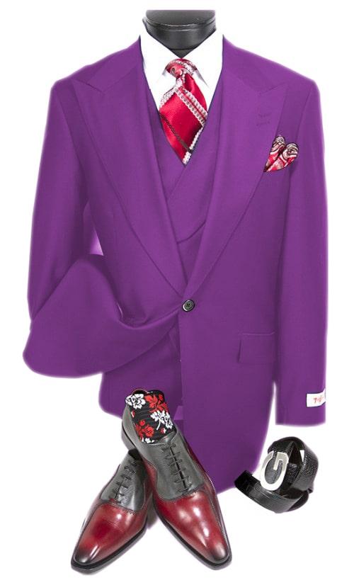 Plum One Chest Pocket Peak Lapel Double Breasted 100% Percent Wool Fabric Slanted Vest By Alberto Nardoni