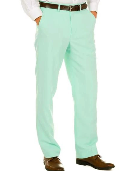 Mens 100% Polyester Slim Fit Mint Pants