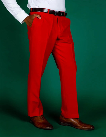 Men's 100% Polyester Slim Fit Red Pants