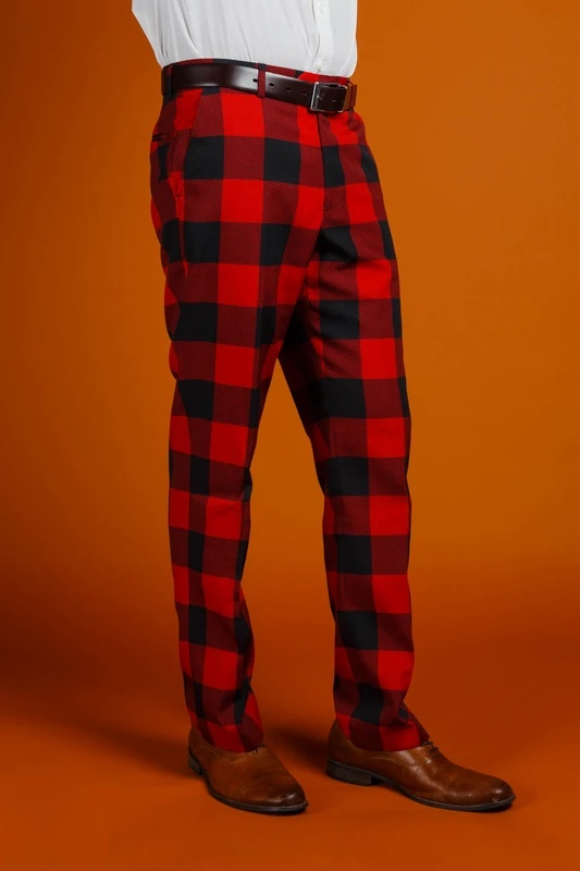 Men's 100% Polyester Slim Fit Red and Black Pants