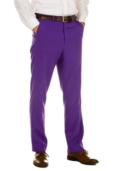 Men's Purple 100% Polyester Slim Fit Pants