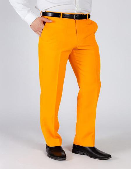 Men's Orange 100% Polyester Flame Suit Pants