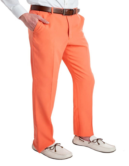 Men's Pastel Orange 100% Polyester Slim Fit Suit Pants