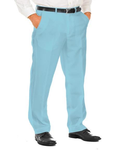 Men's Light Blue 100% Polyester Slim Fit Suit Pants