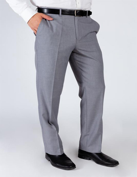 Mens Grey 100% Polyester Business Suit Pants