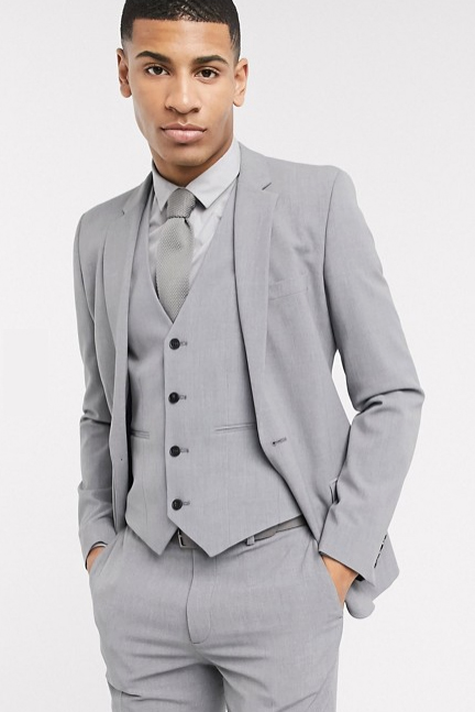 Extra Slim Fit Suit Super Ultra Skinny Tapered European Suit 2 Buttons Style 3 Pieces Vested Suit Wool Suits Shorter Sleeve ~ Shorter Jacket Available in 10 Colors