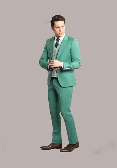 Mens Green Tuxedo ~ Olive Green Tux Jacket and Pants Fashion Wedding ~ Prom Suit