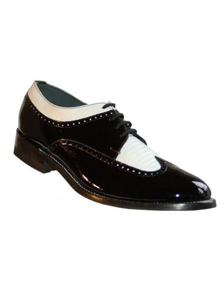 Black-White Wingtip Lace UP Patent Leather Shiny Shoe
