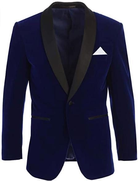 Men's Velvet Tuxedo Blazer Slim Fit Indigo Blue With Black