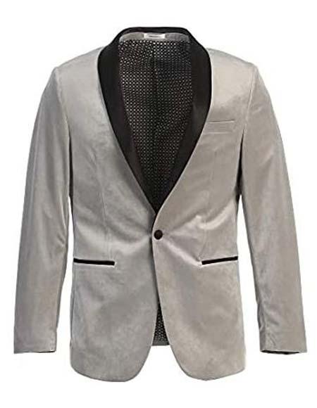 Men's Velvet Tuxedo Blazer Slim Fit Grey With Black