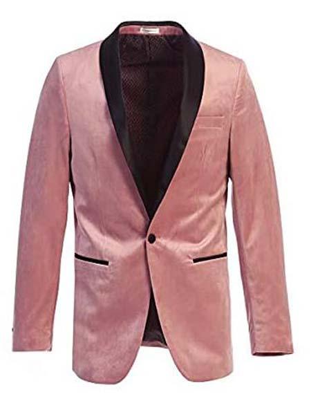 Mens Velvet Tuxedo Blazer Slim Fit Pink With Black