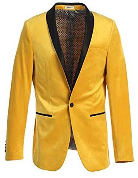 Men's Velvet Tuxedo Blazer Slim Fit Yellow With Black