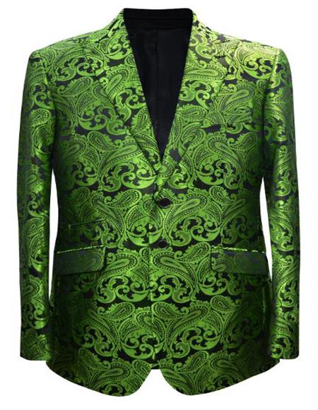 Olive Green and Black Paisley Tuxedo Dinner Jacket + Bowtie