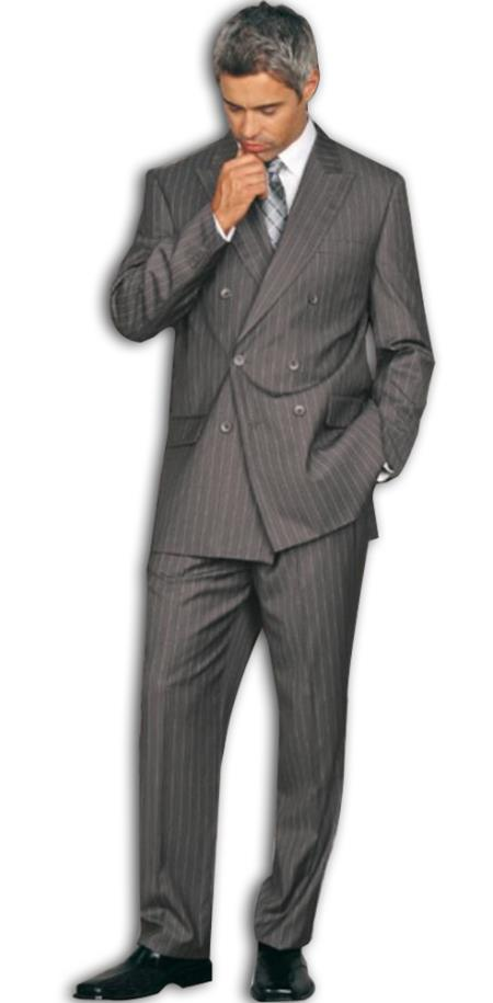 SKU#DB1 Classic Double Breasted Gray Pinstripe Mens Suit $175 (Wholesale price $95 (12pc&UPMinimum)