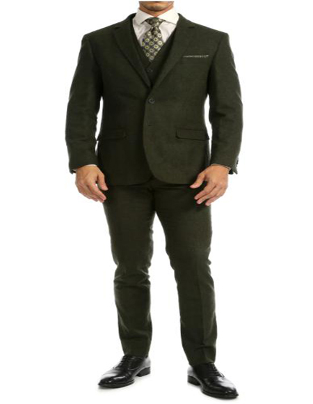 Big and Tall Tweed Suit Slim Fitted Herringbone Fabric Plus Size Mens Suits For Big Guys