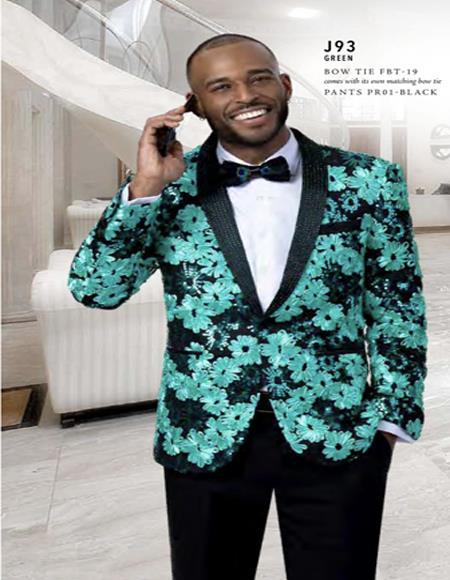 Prom Wedding Paisley Floral Tuxedo Jacket ~.Blazer Lime ~ Apple Green