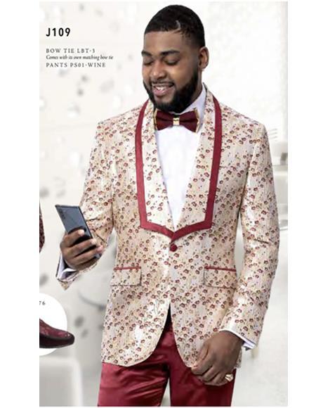 Prom Wedding Paisley Floral Tuxedo Jacket ~.Blazer Ivory ~ Burgundy Maroon ~ Wine