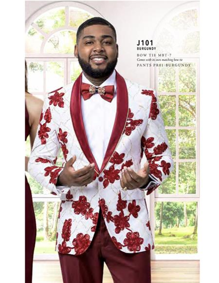 Prom Wedding Paisley Floral Tuxedo Jacket ~.Blazer White and Burgundy ~ Maroon ~ Wine