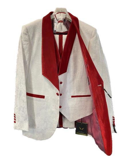 Prom Wedding Paisley Floral Tuxedo Jacket ~.Blazer  - Red Tuxedo