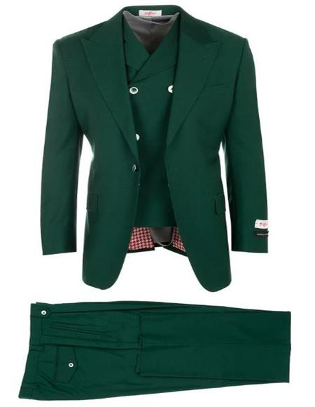 Olive Green ~ Hunter Green Suit Pleated Classic Fit Athletic Fit Cut Wool Fabric Plus Size Men's Suits For Big Guys
