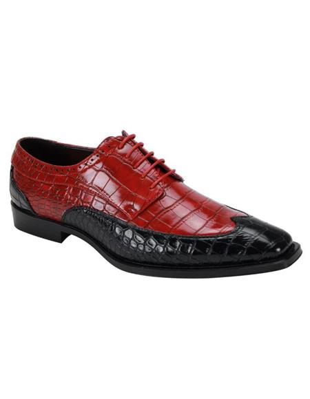 6870 Two Toned Wingtip Exotic Skin Alligator Print Lace Up Dress Shoe Black ~ Red